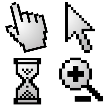 Pixelated computer cursors Vector