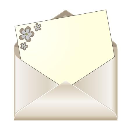 envelope with letter: Busta aperta con cancelleria floreale Vettoriali