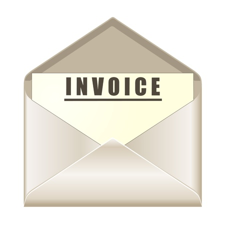 invoices: envelope with invoice document Illustration