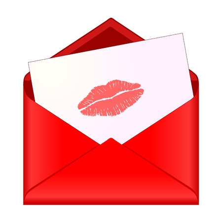 Open red envelope with lipstick kiss on letter Vector