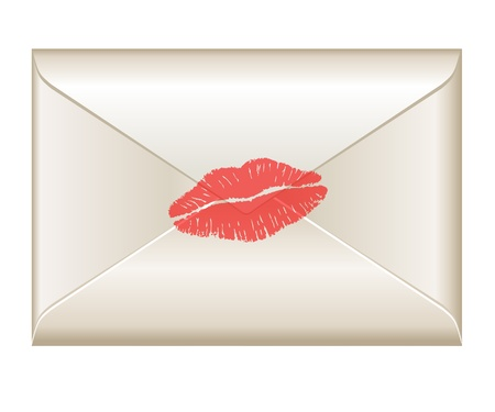 love kiss: Love letter with lipstick kiss