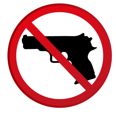 prohibition: No guns allowed sign Illustration