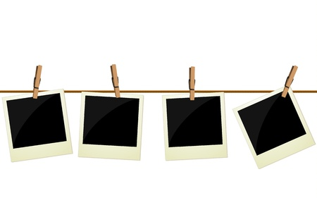 drying: Four pictures hanging on rope Illustration