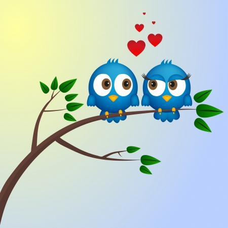 Two birds in love Stock Vector - 17302215