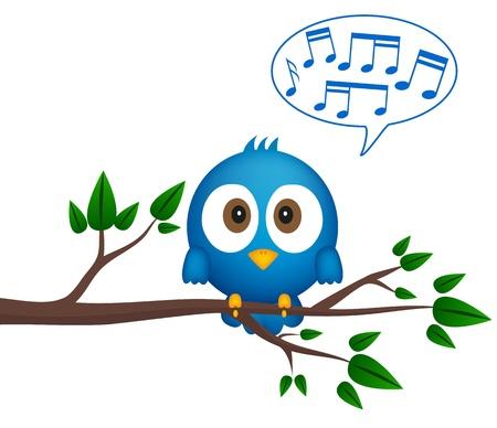 aves caricatura: Pájaro azul que se sienta en rama, cantando Vectores