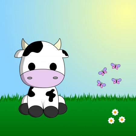 Cute cow sitting in grass Illustration
