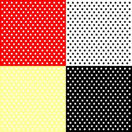 red polka dots: Cuatro fondos de lunares Vectores