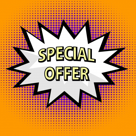 on special offer: Special offer label in pop art style