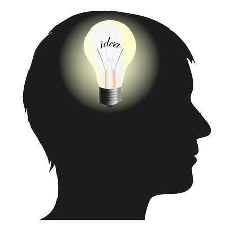 Silhouette de l'homme avec l'idée Illustration