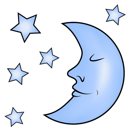 Bleu lune et les étoiles Illustration