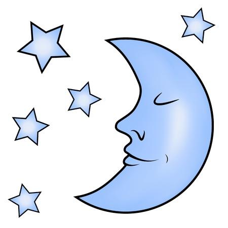 luna caricatura: Luna azul y estrellas