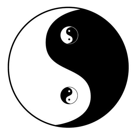 meditation isolated white: Ying yang symbol