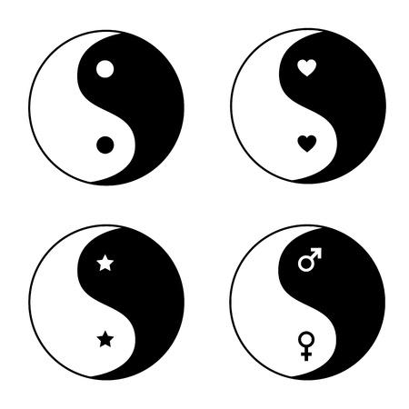 ying yang: Set of ying yang symbols Illustration