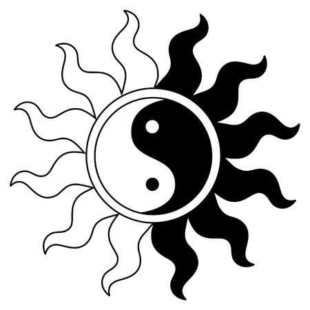 Ying yang symbol in sun Illustration