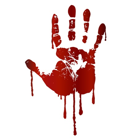 blutspritzer: Blutige Handabdruck