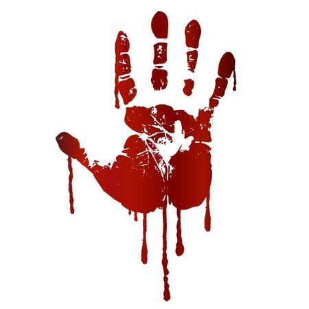 bloody hand print: Impresi�n de la mano sangrienta Vectores
