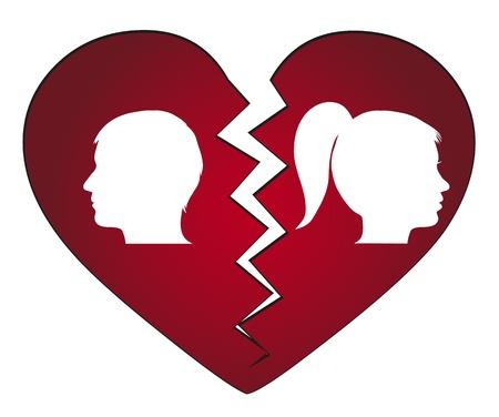 relationship problems: couple getting divorced Illustration
