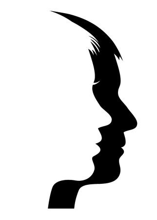 visage femme profil: L'homme et le visage de la femme Illustration