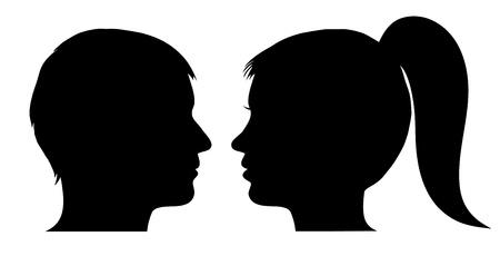 black man white woman: Man and woman face profile Illustration