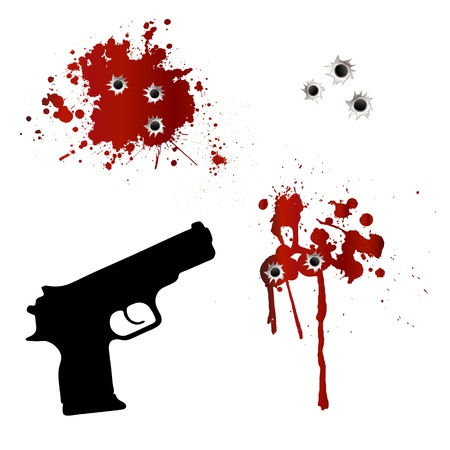 blood stain: Gun with bullet holes and blood Illustration