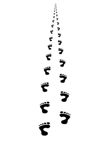 caminando: El pie imprime a alejarse, en perspectiva Vectores