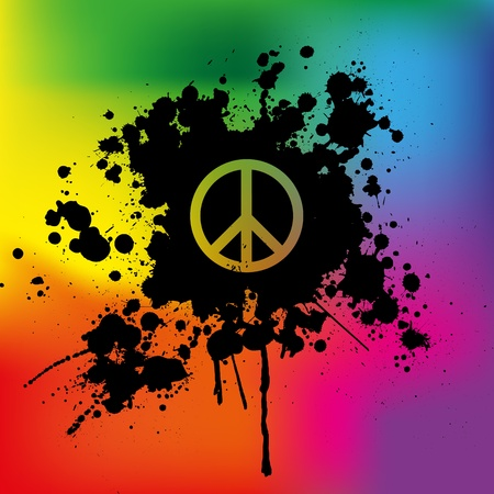 protest signs: Peace sign on rainbow background Illustration