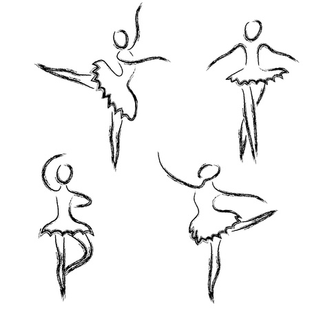 classical dance: Set of abstract ballet dancers