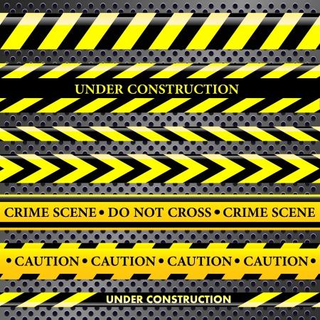 murder scene: Conjunto de l�neas de peligro y de la polic�a en el fondo met�lico Vectores