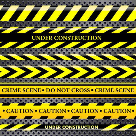 dangerous construction: Set of danger and police lines on metallic background Illustration