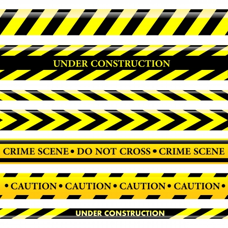 police tape: Set of danger and police lines