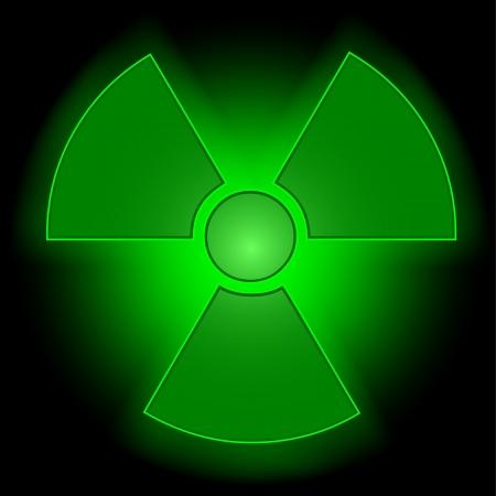 radioactive symbol: S�mbolo radiactivo que brilla intensamente