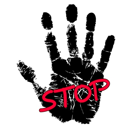 Hand print with stop sign Stock Vector - 17301790