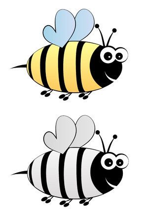 pollinator: Bee cartoon in color and black-white Illustration