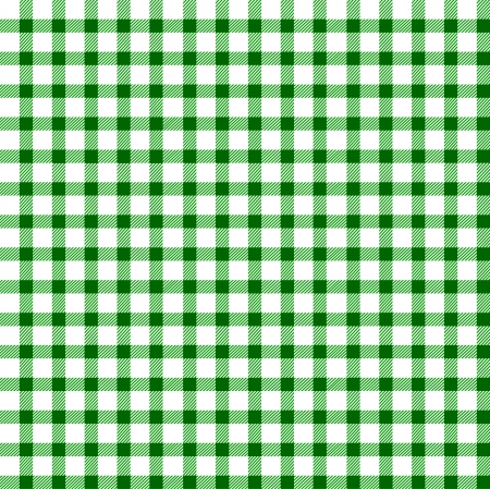 picnic tablecloth: Seamless retro white-green square tablecloth Illustration