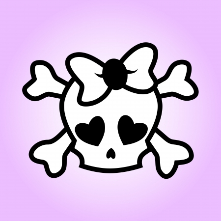 Girly skull illustration Vector