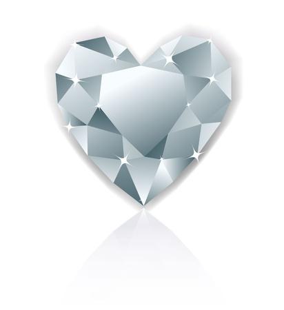 diamond shape: Shiny heart diamond with reflection