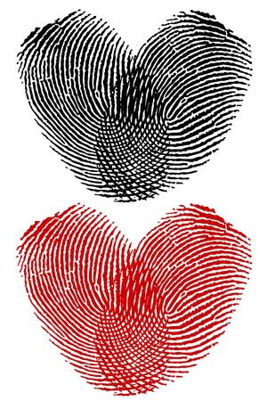 Empreintes digitales en forme de coeur