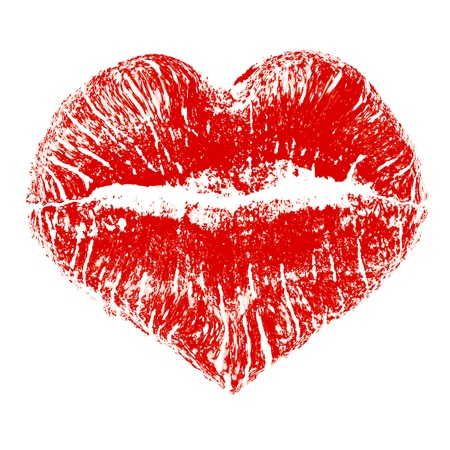 Lipstick kiss in heart shape Illustration