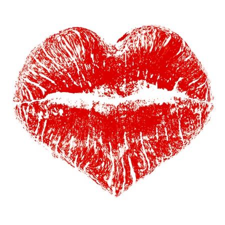 beso: Beso del l�piz labial en forma de coraz�n