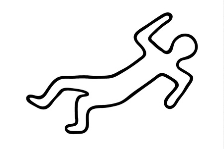 scene of a crime: chalk outline of a dead body Illustration