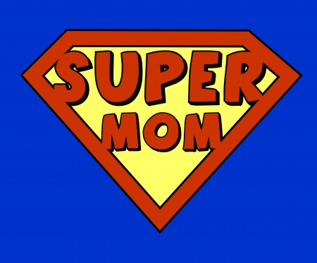 Funny super mom shield Vector