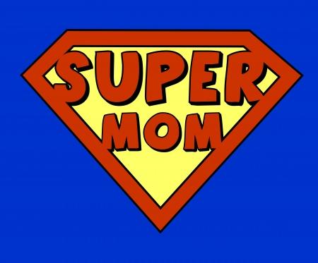 Funny super mom shield Stock Vector - 18454752