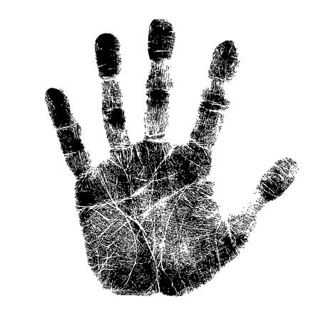 manos sucias: Impresi�n de la mano
