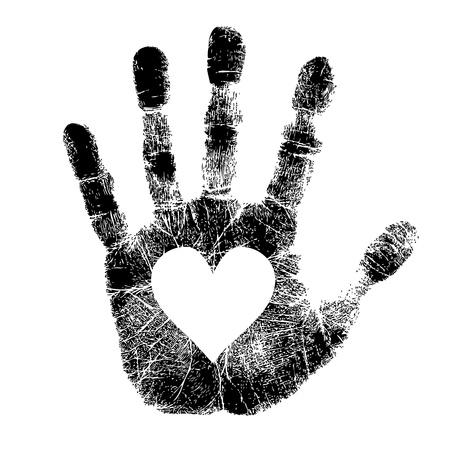 cuore in mano: Stampa della mano con il cuore Vettoriali