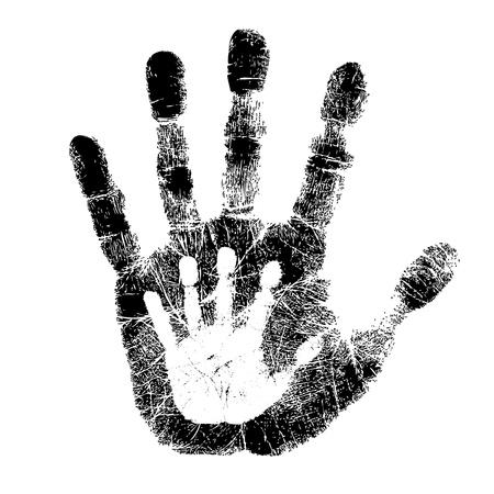 Adulto y niño impresión de la mano Ilustración de vector