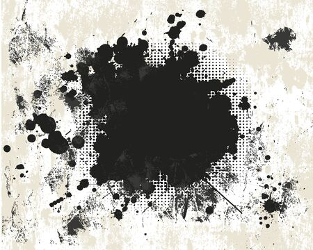 ink spill: Grunge background with halftone