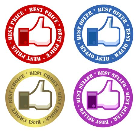 best hand: Conjunto de etiquetas de publicidad Vectores