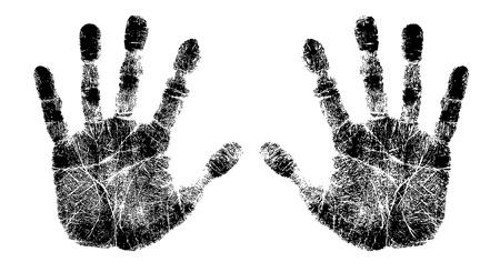 manos sucias: la mano izquierda y la derecha de impresi�n