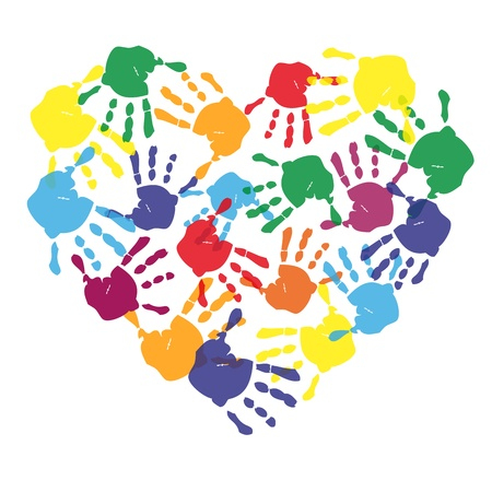 hand print: Colorful child hand prints in heart shape