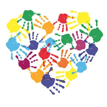 Empreintes de mains d'enfants colorés en forme de coeur Banque d'images - 21330685